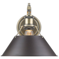 Golden Lighting 3306-1W-AB-RBZ Orwell 1 Light 10 inch Aged Brass Wall Sconce Wall Light in Rubbed Bronze