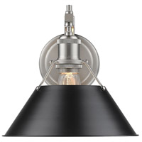 Golden Lighting 3306-1W-PW-BLK Orwell 1 Light 10 inch Pewter Wall Sconce Wall Light in Black