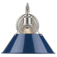 Golden Lighting 3306-1W-PW-NVY Orwell 1 Light 10 inch Pewter Wall Sconce Wall Light in Navy