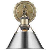 Golden Lighting 3306-BA1-AB-CH Orwell 1 Light 8 inch Aged Brass Bath Fixture Wall Light in Chrome
