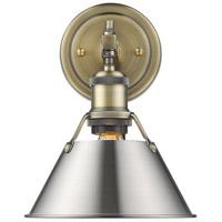 Golden Lighting 3306-BA1-AB-PW Orwell 1 Light 8 inch Aged Brass Bath Fixture Wall Light in Pewter