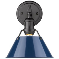 Golden Lighting 3306-BA1 BLK-NVY Orwell 1 Light 9 inch Matte Black Vanity Lighting Wall Light in Matte Navy