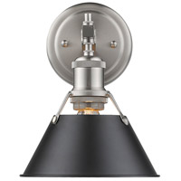 Orwell 1 Light 8 inch Pewter Bath Vanity Wall Light in Black