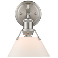 Orwell 1 Light 8 inch Pewter Bath Vanity Wall Light in Opal Shade