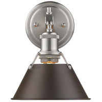 Golden Lighting 3306-BA1-PW-RBZ Orwell 1 Light 8 inch Pewter Bath Vanity Wall Light in Rubbed Bronze