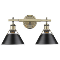 Orwell 2 Light 18 inch Aged Brass Bath Vanity Wall Light in Black