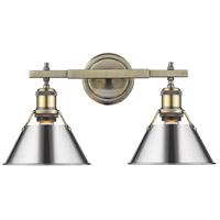Golden Lighting 3306-BA2-AB-CH Orwell 2 Light 18 inch Aged Brass Bath Fixture Wall Light in Chrome