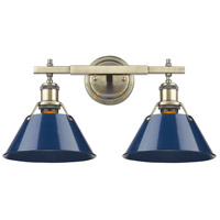 Orwell 2 Light 18 inch Aged Brass Bath Vanity Wall Light in Navy