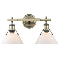 Orwell 2 Light 18 inch Aged Brass Bath Vanity Wall Light in Opal Shade