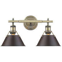 Orwell 2 Light 18 inch Aged Brass Bath Vanity Wall Light in Rubbed Bronze