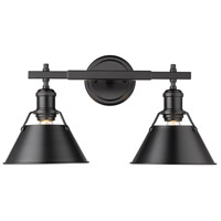 Golden Lighting 3306-BA2 BLK-BLK Orwell 2 Light 18 inch Matte Black Vanity Lighting Wall Light