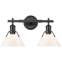 Golden Lighting 3306-BA2-BLK-OP Orwell BLK 2 Light 18 inch Matte Black Bath Fixture Wall Light