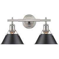 Orwell 2 Light 18 inch Pewter Bath Vanity Wall Light in Black