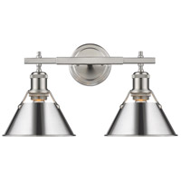 Golden Lighting 3306-BA2 PW-CH Orwell 2 Light 18 inch Pewter Bath Fixture Wall Light in Chrome