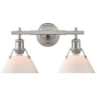 Orwell 2 Light 18 inch Pewter Bath Vanity Wall Light in Opal Shade