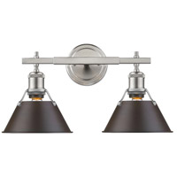 Orwell 2 Light 18 inch Pewter Bath Vanity Wall Light in Rubbed Bronze