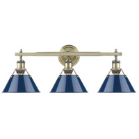 Orwell 3 Light 24 inch Aged Brass Bath Vanity Wall Light in Navy
