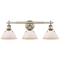 Golden Lighting 3306-BA3-AB-OP Orwell 3 Light 24 inch Aged Brass Bath Vanity Wall Light in Opal Shade alternative photo thumbnail