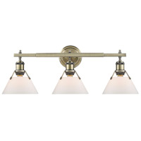 Orwell 3 Light 24 inch Aged Brass Bath Vanity Wall Light in Opal Shade