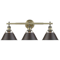 Orwell 3 Light 24 inch Aged Brass Bath Vanity Wall Light in Rubbed Bronze
