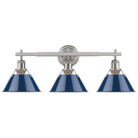 Orwell 3 Light 24 inch Pewter Bath Vanity Wall Light in Navy