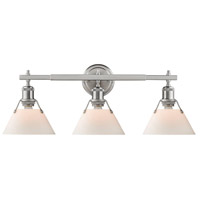Orwell 3 Light 24 inch Pewter Bath Vanity Wall Light in Opal Shade
