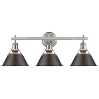 Orwell 3 Light 24 inch Pewter Bath Vanity Wall Light in Rubbed Bronze