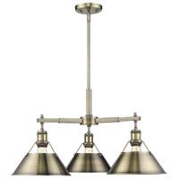 Golden Lighting 3306-D3-AB-AB Orwell AB 3 Light 28 inch Aged Brass Chandelier - Mini Ceiling Light
