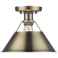 Orwell 1 Light 10 inch Aged Brass Flush Mount Ceiling Light