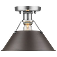 Orwell 1 Light 10 inch Pewter Flush Mount Ceiling Light in Rubbed Bronze