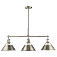 Orwell 3 Light 36 inch Aged Brass Linear Pendant Ceiling Light