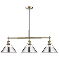 Golden Lighting 3306-LP AB-CH Orwell 3 Light 36 inch Aged Brass Linear Pendant Ceiling Light in Chrome
