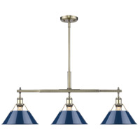 Orwell 3 Light 36 inch Aged Brass Linear Pendant Ceiling Light in Navy