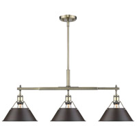 Golden Lighting 3306-LP-AB-RBZ Orwell 3 Light 36 inch Aged Brass Linear Pendant Ceiling Light in Rubbed Bronze