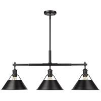 Golden Lighting 3306-LP-BLK-BLK Orwell 3 Light 36 inch Matte Black Linear Pendant Ceiling Light