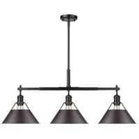 Golden Lighting 3306-LP BLK-RBZ Orwell 3 Light 36 inch Matte Black Linear Pendant Ceiling Light in Rubbed Bronze