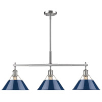 Orwell 3 Light 36 inch Pewter Linear Pendant Ceiling Light in Navy