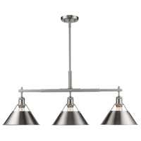 Golden Lighting 3306-LP-PW-PW Orwell 3 Light 36 inch Pewter Linear Pendant Ceiling Light