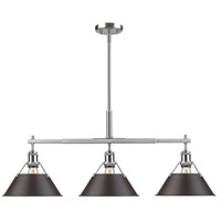 Golden Lighting 3306-LP-PW-RBZ Orwell 3 Light 36 inch Pewter Linear Pendant Ceiling Light in Rubbed Bronze