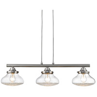 Golden Lighting 3417-LP-PW-CC Asha 3 Light 32 inch Pewter Linear Pendant Ceiling Light