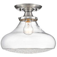 Golden Lighting 3417-LSF-PW-CC Asha 1 Light 12 inch Pewter Semi-flush - Damp Ceiling Light