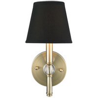 Waverly 1 Light 6 inch Aged Brass Wall Sconce Wall Light in Tuxedo Shade, Antique Brass