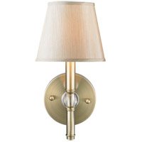 Waverly 1 Light 6 inch Aged Brass Wall Sconce Wall Light in Silken Parchment Shade, Antique Brass