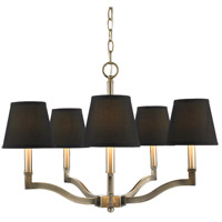 Waverly 5 Light 25 inch Aged Brass Chandelier Ceiling Light in Tuxedo Shade, Antique Brass