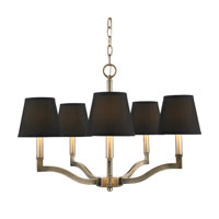 Golden Lighting Waverly 5 Light Chandelier in Antique Brass with Tuxedo Shade 3500-5-AB-GRM
