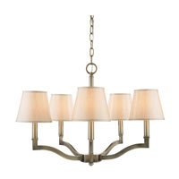 Waverly 5 Light 25 inch Aged Brass Chandelier Ceiling Light in Silken Parchment Shade, Antique Brass