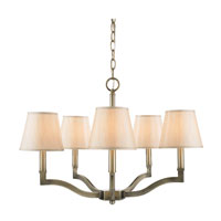 Golden Lighting Waverly 5 Light Chandelier in Antique Brass with Silken Parchment Shade 3500-5-AB-PMT