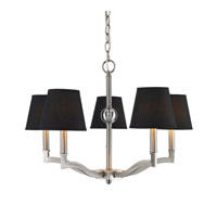 Waverly 5 Light 25 inch Pewter Chandelier Ceiling Light in Tuxedo Shade