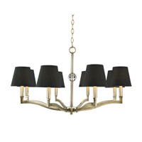 Golden Lighting Waverly 8 Light Chandelier in Antique Brass with Tuxedo Shade 3500-8-AB-GRM
