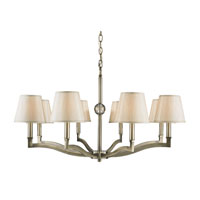 Waverly 8 Light 34 inch Aged Brass Chandelier Ceiling Light in Silken Parchment Shade, Antique Brass